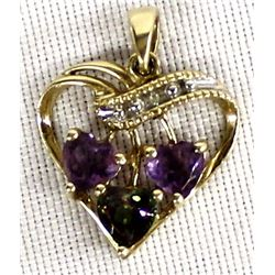 10KT Gold and Amethyst Heart Pendant