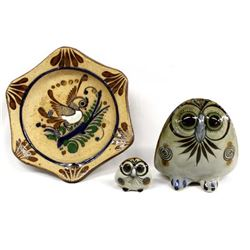 3 Mexican Tonala Pottery, 2 Owls and 1 Small Plate