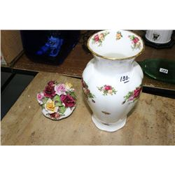 Royal Albert Vase & Porcelain Flowers