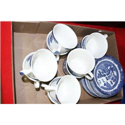 Flat of Blue Willow Dishes
