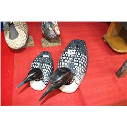 Carved Wooden Loons (2)