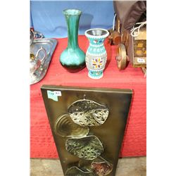 2 Small Vases & a Metal Wall Hanging