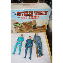 4 Johnny West Action Figures & Johnny West Covered Wagon - In a Box