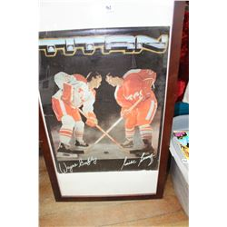 Wayne Gretzky & Mike Bossey Titan Stick Advertising Poster (Framed)