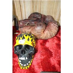 Pr. Of Old Boxing Gloves & a Painted Scull