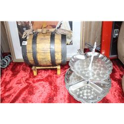 Small Wine Keg & 2 Tier Serving Dish