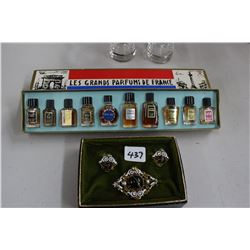 Old Costume Earrings & Broach & a Box of French Perfume Samples
