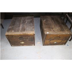 2 Stacking Wooden File Cabinets