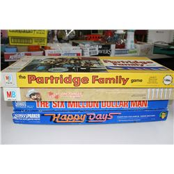 Partridge Family, Lone Ranger, Six Million Dollar Man & Happy Days Games - all w/Instructions