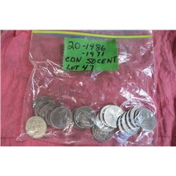 20 coins CAD 50 Cents 1971-1986