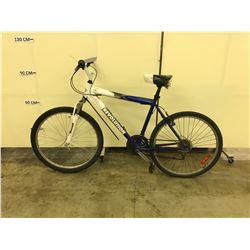BLUE AND WHITE REVOLUTION GETAWAY 21 SPEED FRONT SUSPENSION MOUNTAIN BIKE