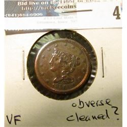 1851 U.S. Half Cent, VF, obverse cleaned?