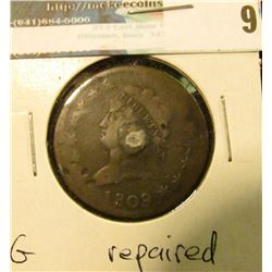 1809 U.S. Large Cent, G, interesting repair.