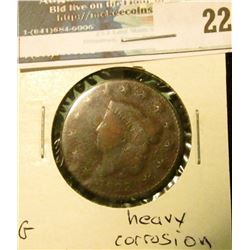 1823 U.S. Large Cent, G, heavy corrosion.