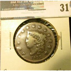 1832 U.S. Large Cent, Good, corrosion.