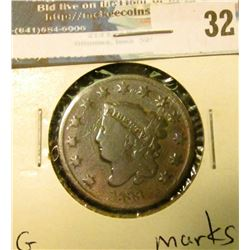 1833 U.S. Large Cent, G, marks.
