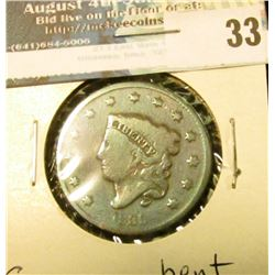 1835 U.S. Large Cent, G, bent.