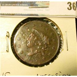 1837 U.S. Large Cent, VF, corrosion.