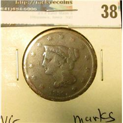 1839 U.S. Large Cent, VG, marks.