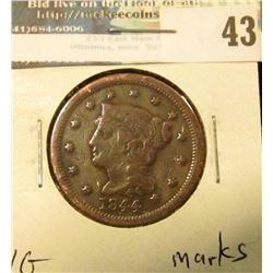 1844 U.S. Large Cent, VG, marks.