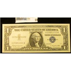 $1 note series 1957B Silver Certificate, Choice Uncirculated.