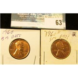 1960 P large date & 60 D small date U.S. Lincoln Cents, Red Gem BU.