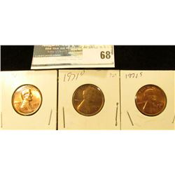 1971 P, D, & S U.S. Lincoln Cents, Red Gem BU.