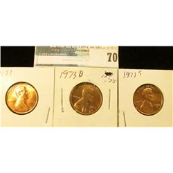 1973 P, D, & S U.S. Lincoln Cents, Red Gem BU.