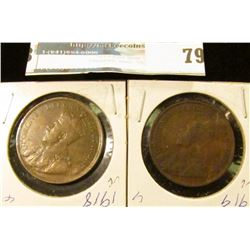 1918 & 1919 Canada Large Cents, VG.