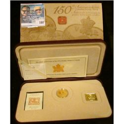 2001 150th Anniversary of First Postage Stamps in Canada. Sterling Silver gold-plated Three Cent Bea