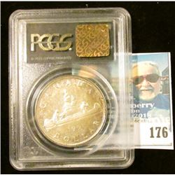 """1951 PCGS slabbed """"MS63"""" (OGH Short Water Line Variety) Canada Silver Dollar."""