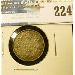 1909 Broad Leaves Canada Silver Dime. Good+.