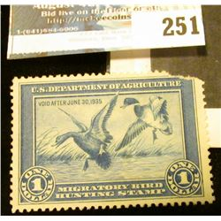 1934 RW1 Federal Migratory Bird Hunting and Conservation $1.00 Stamp. Mint, unsigned, with no gum. U