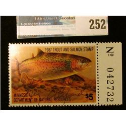 1987 Artist Signed Trout and Salmon Stamp Minnesota Department of Natural Resources. Mint condition,