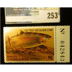 1987 Trout and Salmon Stamp Minnesota Department of Natural Resources. Mint condition, with panel nu