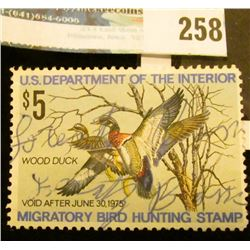 RW41 1974 Federal Migratory Bird Hunting and Conservation Stamp, signed, no gum.