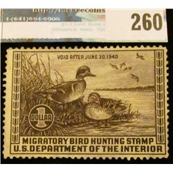 RW6 1939 Federal Migratory Bird Hunting and Conservation Stamp, not signed, no gum.