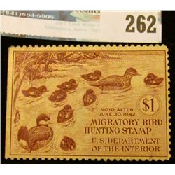 RW8 1941 Federal Migratory Bird Hunting and Conservation Stamp, not signed, no gum.