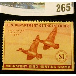 RW10 1942 Federal Migratory Bird Hunting and Conservation Stamp, not signed, no gum.