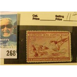 RW13 1946 Federal Migratory Bird Hunting and Conservation Stamp, signed, no gum.