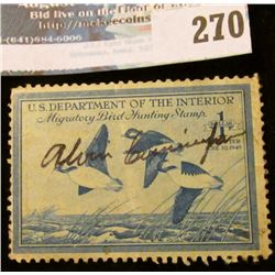 RW15 1948 Federal Migratory Bird Hunting and Conservation Stamp, signed, no gum.