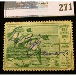 RW16 1949 Federal Migratory Bird Hunting and Conservation Stamp, signed, no gum.