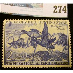 RW19 1952 Federal Migratory Bird Hunting and Conservation Stamp, signed, no gum.