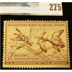 RW20 1953 Federal Migratory Bird Hunting and Conservation Stamp, signed, no gum.