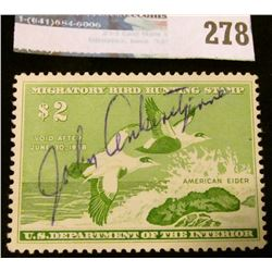 RW24 1957 Federal Migratory Bird Hunting and Conservation Stamp, signed, no gum.