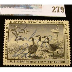 RW25 1958 Federal Migratory Bird Hunting and Conservation Stamp, signed, no gum.