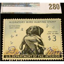 RW26 1959 Federal Migratory Bird Hunting and Conservation Stamp, signed, no gum.