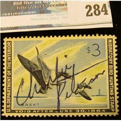 RW30 1963 Federal Migratory Bird Hunting and Conservation Stamp, signed, no gum.
