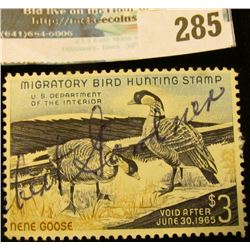 RW31 1964 Federal Migratory Bird Hunting and Conservation Stamp, signed, no gum.