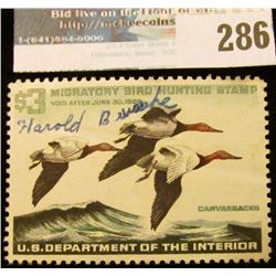 RW32 1965 Federal Migratory Bird Hunting and Conservation Stamp, signed, no gum.